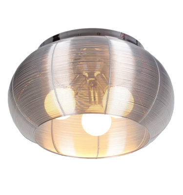 Lenox 3 Light Round Silver Flush Mount