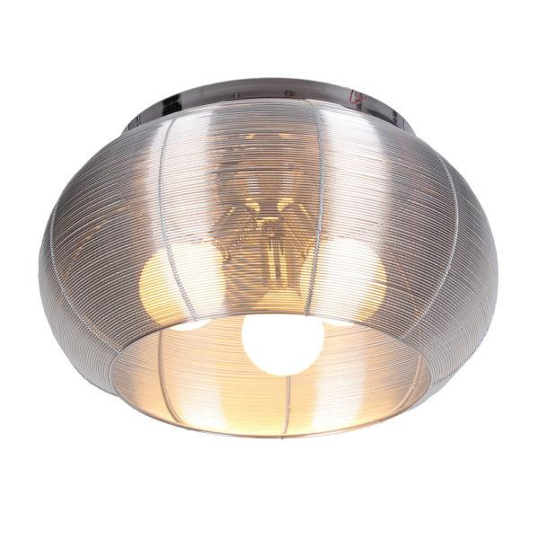 Lenox 3 Light Round Silver Flush Mount
