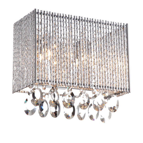 Crystalline Rectangular 2 Light Crystals Wall Sconce