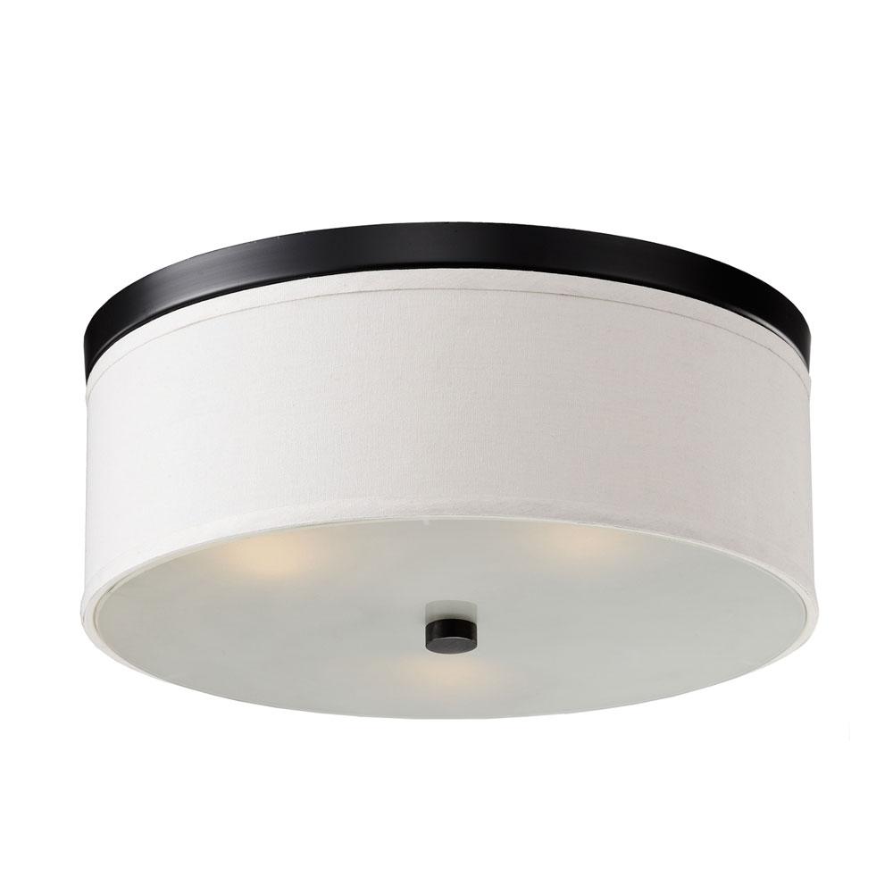Braxton 20 Inch Round White And Black Flush Mount Bromi Design