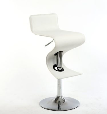 King White Adjustable Height White Bar Stool