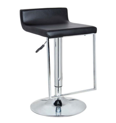 Spencer Black Adjustable Height Swivel Bar Stool