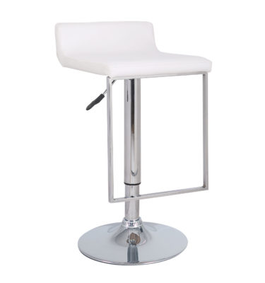 Spencer White Adjustable Height Swivel Bar Stool