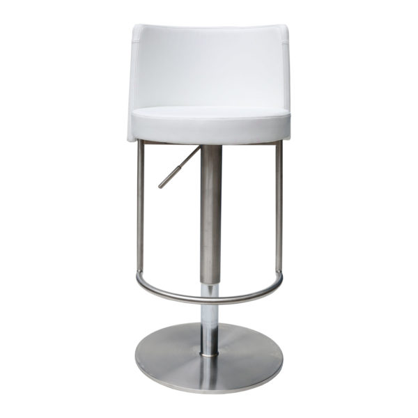 Bowery White Adjustable Height Swivel Bar Stool