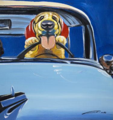 Dog -Blue Truck Wall Art